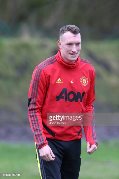 Phil Jones of Manchester United in action during a first team training session at Aon Training Complex on January 31, 2020 in Manchester, England.