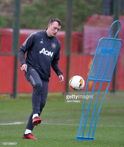 Phil Jones of Manchester United in action during a first team training session at Aon Training Complex on February 19, 2020 in Manchester, United...