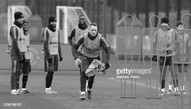 Phil Jones of Manchester United in action during a first team training session at Aon Training Complex on February 26, 2020 in Manchester, England.