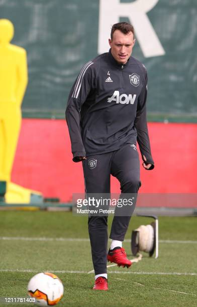 Phil Jones of Manchester United in action during a first team training session at Aon Training Complex on March 11, 2020 in Manchester, England.