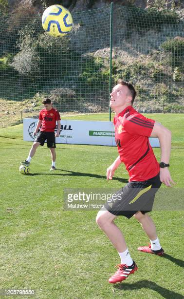 Phil Jones of Manchester United in action during a first team training session on February 12, 2020 in Malaga, Spain.