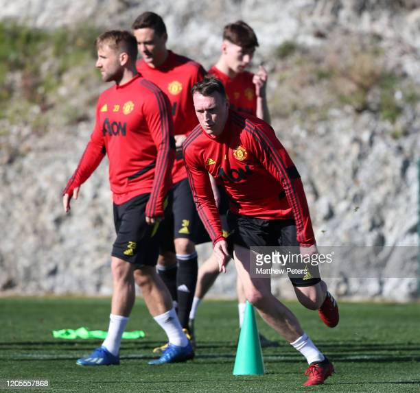 Phil Jones of Manchester United in action during first team training session on February 11, 2020 in Malaga, Spain.