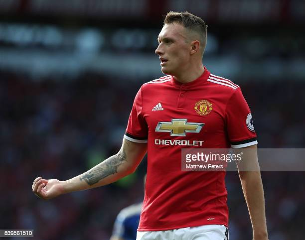 Phil Jones of Manchester United in action during the Premier League match between Manchester United and Leicester City at Old Trafford on August 26...