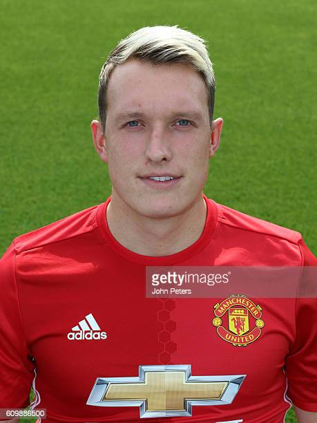 Phil Jones of Manchester United poses for a portrait at the Manchester United Official Photocall on September 19 2016 in Manchester England