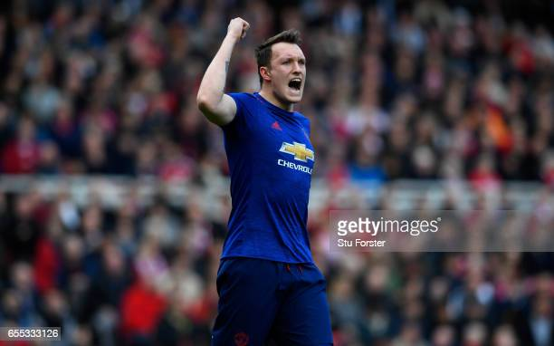 Phil Jones of Manchester United reacts during the Premier League match between Middlesbrough and Manchester United at Riverside Stadium on March 19...