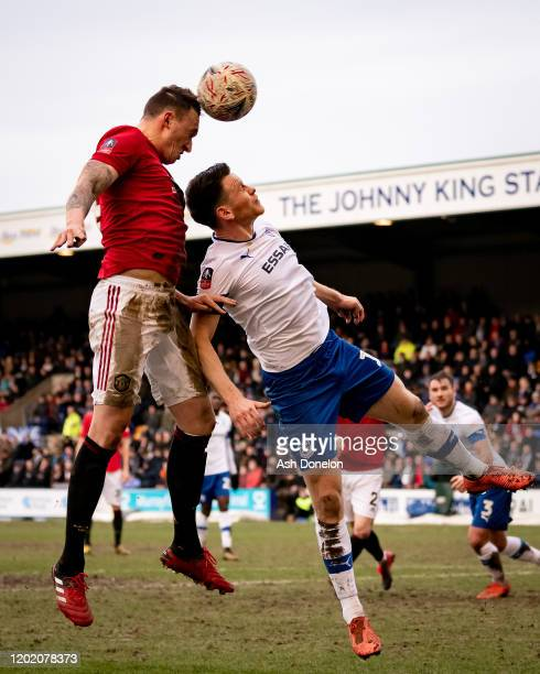 Phil Jones of Manchester United scores their fourth goal during the FA Cup Fourth Round match between Tranmere Rovers and Manchester United at...