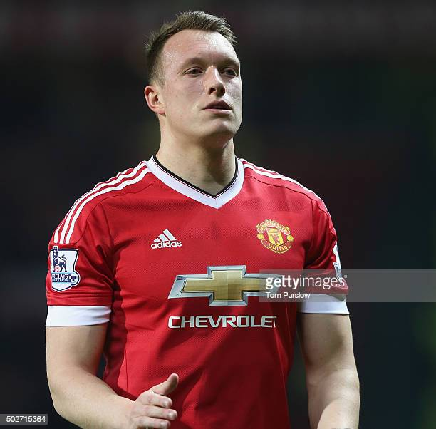 Phil Jones of Manchester United walks off after the Barclays Premier League match between Manchester United and Chelsea at Old Trafford on December...