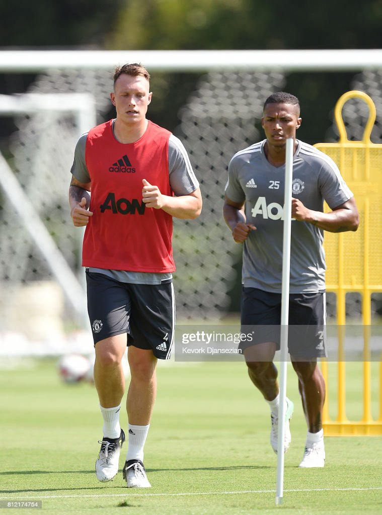 Phil Jones #4 of the Manchester United during a training session for Tour 2017 at UCLA's Drake Stadium July 10, 2017, in Los Angeles, California.