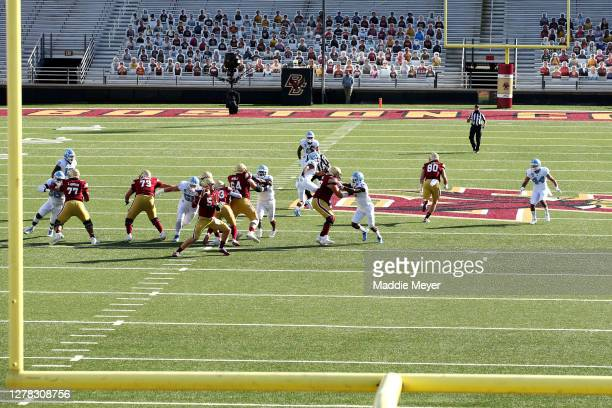 Phil Jurkovec of the Boston College Eagles makes a throw against the North Carolina Tar Heels at Alumni Stadium on October 03, 2020 in Chestnut Hill,...