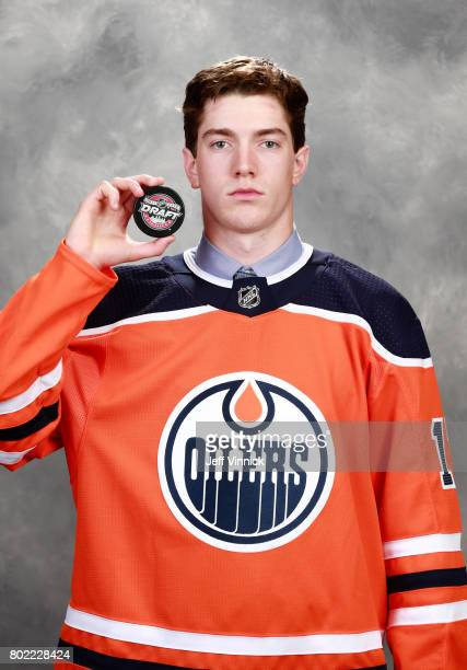 Phil Kemp 208th overall pick of the Edmonton Oilers poses for a portrait during the 2017 NHL Draft at United Center on June 24 2017 in Chicago...