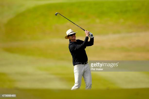 Phil Keoghan plays a shot on the 14th hole during round three of the New Zealand Open at The Hills Golf Club on March 1 2014 in Queenstown New Zealand