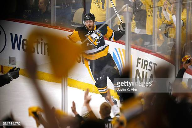 Phil Kessel of the Pittsburgh Penguins celebrates after scoring a goal against Andrei Vasilevskiy of the Tampa Bay Lightning during the first period...