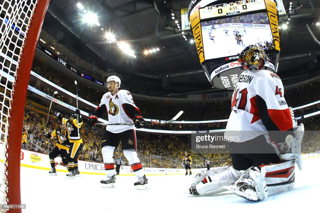Phil Kessel #81 of the Pittsburgh Penguins celebrates after scoring a goal against Craig Anderson #41 of the Ottawa Senators during the third period in Game Two of the Eastern Conference Final during the 2017 NHL Stanley Cup Playoffs at PPG PAINTS Arena on May 15, 2017 in Pittsburgh, Pennsylvania.