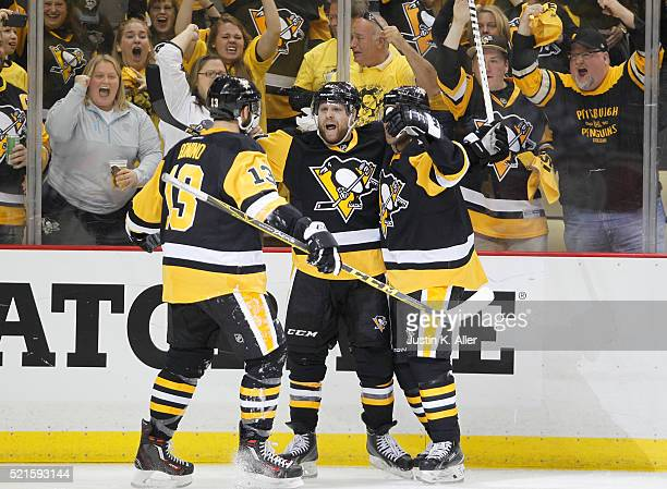 Phil Kessel of the Pittsburgh Penguins celebrates after scoring in the second period in Game Two of the Eastern Conference Quarterfinals against the...