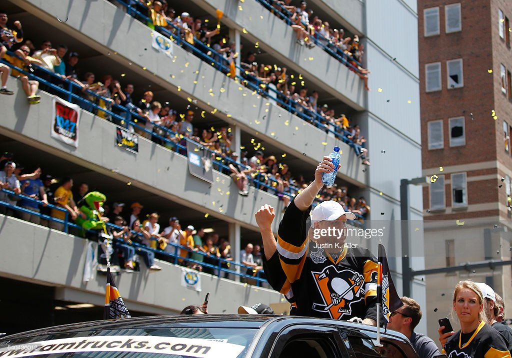 Phil Kessel #81 of the Pittsburgh Penguins celebrates during the Victory Parade and Rally on June 15, 2016 in Pittsburgh, Pennsylvania. The Penguins defeated the San Jose Sharks to win the NHL Stanley Cup.