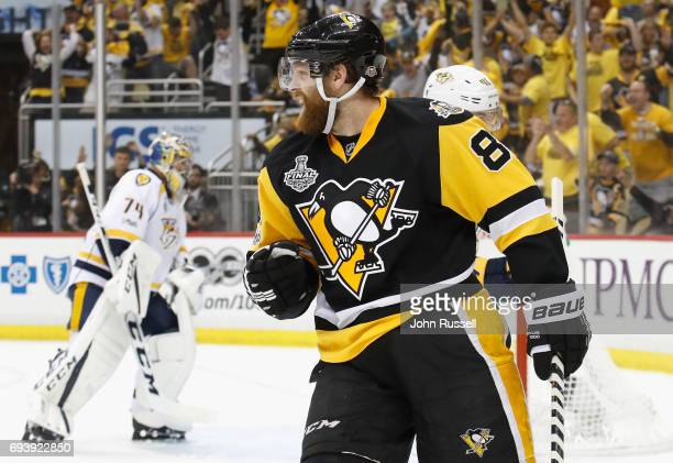 Phil Kessel of the Pittsburgh Penguins celebrates his goal on goaltender Juuse Saros of the Nashville Predators during the second period of Game Five...