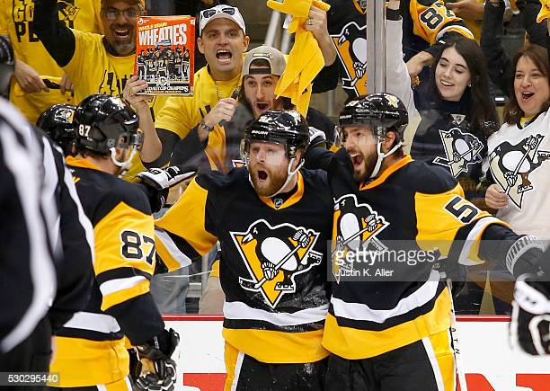 Phil Kessel of the Pittsburgh Penguins celebrates his second period goal against the Washington Capitals in Game Six of the Eastern Conference Second...