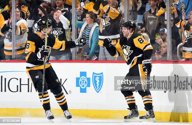 Phil Kessel of the Pittsburgh Penguins celebrates his second period goal against the Tampa Bay Lightning at PPG Paints Arena on November 25 2017 in...