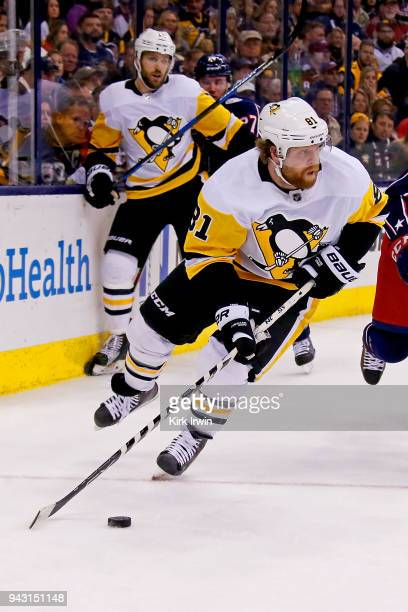 Phil Kessel of the Pittsburgh Penguins controls the puck during the game against the Columbus Blue Jackets on April 5 2018 at Nationwide Arena in...