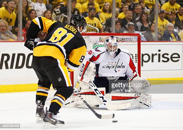 Phil Kessel of the Pittsburgh Penguins cuts to the slot against Braden Holtby of the Washington Capitals in Game Six of the Eastern Conference Second...