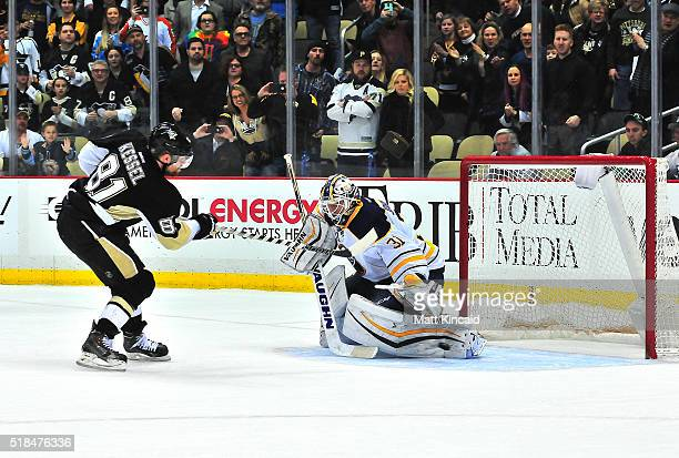 Phil Kessel of the Pittsburgh Penguins gets the game winning goal in a shootout against the Buffalo Sabres at Consol Energy Center on March 29 2016...