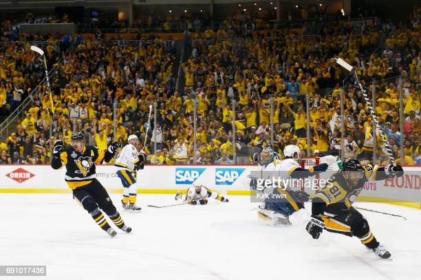 Phil Kessel of the Pittsburgh Penguins reacts after a goal by Evgeni Malkin during the third period in Game Two of the 2017 NHL Stanley Cup Final...