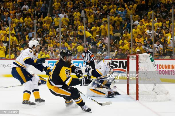 Phil Kessel of the Pittsburgh Penguins reacts to a goal by Evgeni Malkin during the third period in Game Two of the 2017 NHL Stanley Cup Final...