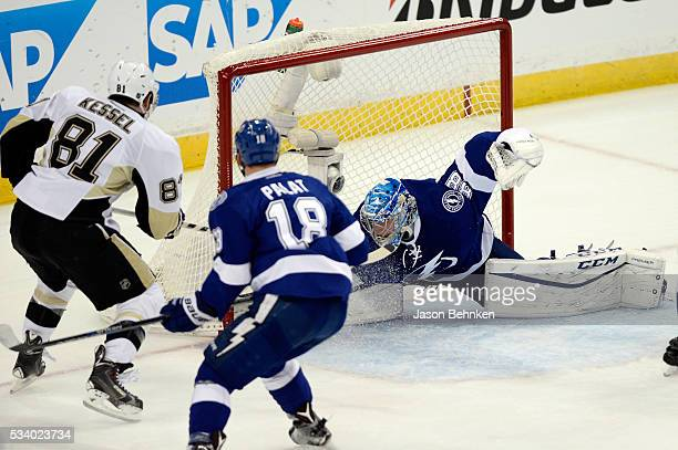 Phil Kessel of the Pittsburgh Penguins scores a goal against Andrei Vasilevskiy of the Tampa Bay Lightning during the first period in Game Six of the...
