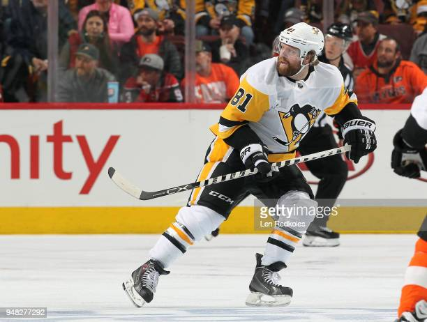 Phil Kessel of the Pittsburgh Penguins skates against the Philadelphia Flyers in Game Three of the Eastern Conference First Round during the 2018 NHL...