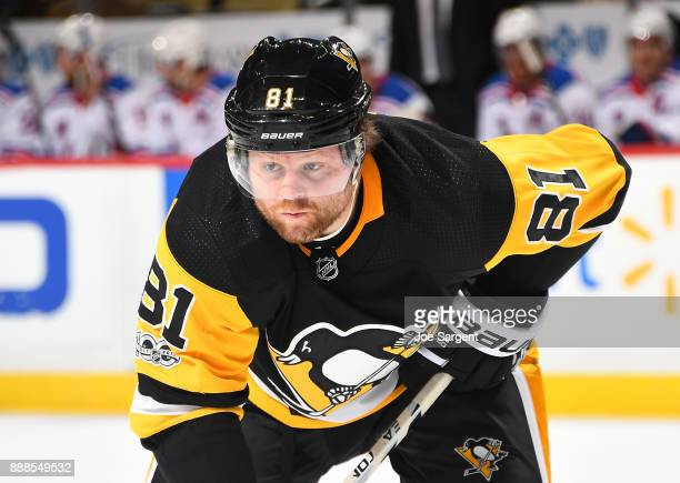 Phil Kessel of the Pittsburgh Penguins skates against the New York Rangers at PPG Paints Arena on December 5 2017 in Pittsburgh Pennsylvania
