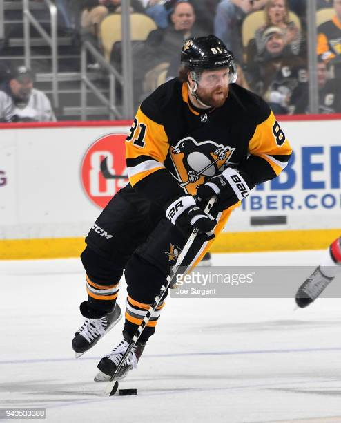 Phil Kessel of the Pittsburgh Penguins skates against the Ottawa Senators at PPG Paints Arena on April 6 2018 in Pittsburgh Pennsylvania