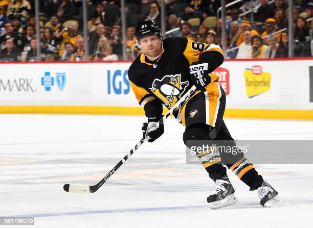 Phil Kessel of the Pittsburgh Penguins skates against the Tampa Bay Lightning at PPG Paints Arena on November 25 2017 in Pittsburgh Pennsylvania