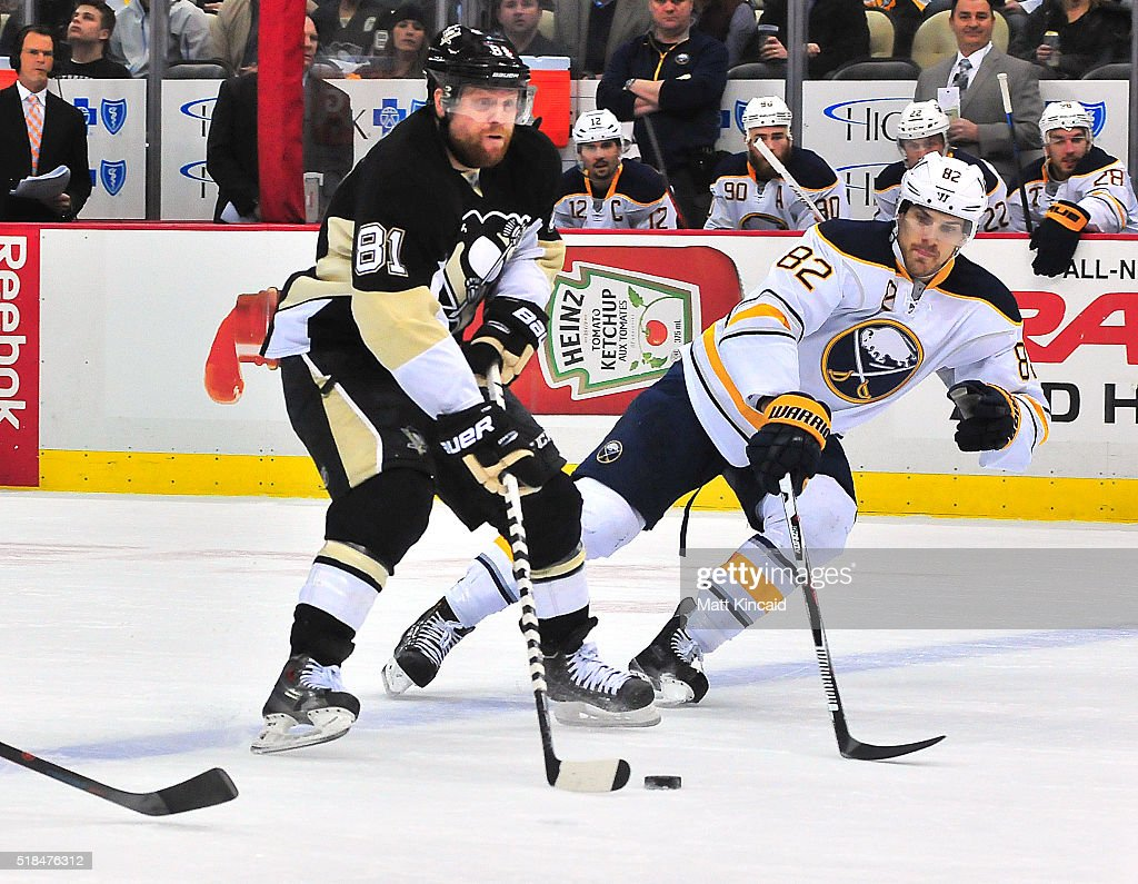 1167e477d Phil Kessel  81 of the Pittsburgh Penguins skates with the puck as Marcus  Foligno