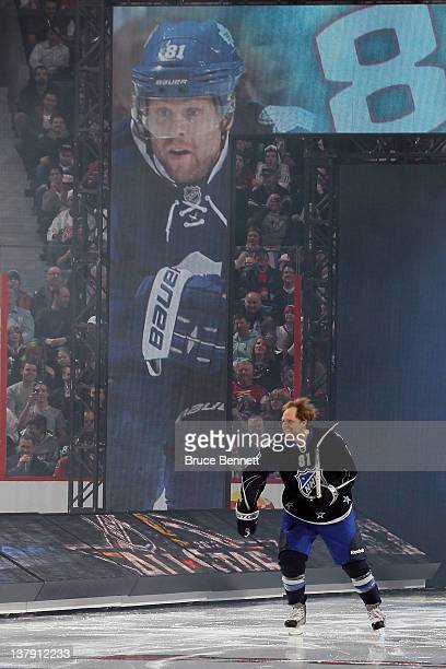 Phil Kessel of the Toronto Maple Leafs and team Chara skates on the iceduring introductions for the 2012 Tim Hortons NHL AllStar Game at Scotiabank...
