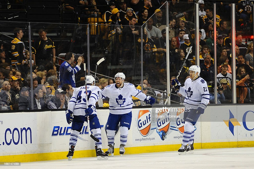 Phil Kessel #81 of the Toronto Maple Leafs celebrates a goal against the Boston Bruins in Game Seven of the Eastern Conference Quarterfinals during the 2013 NHL Stanley Cup Playoffs at TD Garden on May 13, 2013 in Boston, Massachusetts.