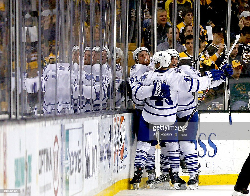 Phil Kessel #81 of the Toronto Maple Leafs celebrates with teammates after scoring a goal in the third period against the Boston Bruins during Game Two of the Eastern Conference Quarterfinals during the 2013 NHL Stanley Cup Playoffs at TD Garden on May 4, 2013 in Boston, Massachusetts.