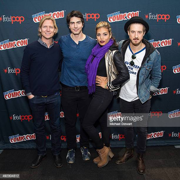 Phil Klemmer Brandon Routh Ciara Renee and Arthur Darvill pose in the press room for the DC's Legends of Tomorrow panel during Comic Con Day 4 at The...