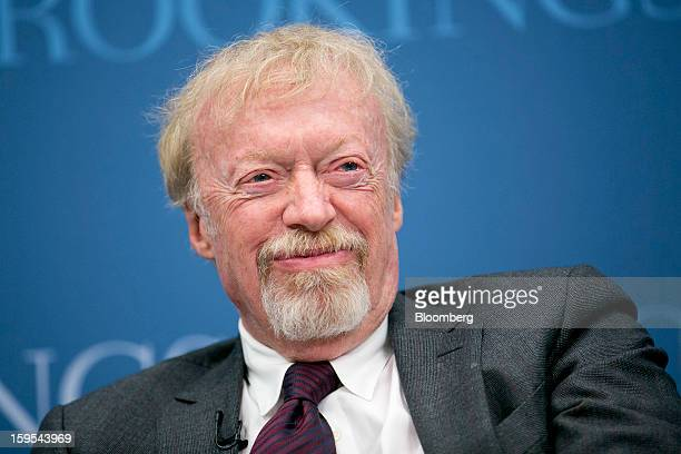 Phil Knight chairman and cofounder of Nike Inc laughs during a panel discussion at the Brookings Institution in Washington DC US on Tuesday Jan 15...