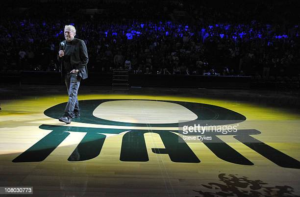 Phil Knight cofounder and Chairman of Nike Inc addresses the crowd before the first game between the USC Trojans and the Oregon Ducks basketball...