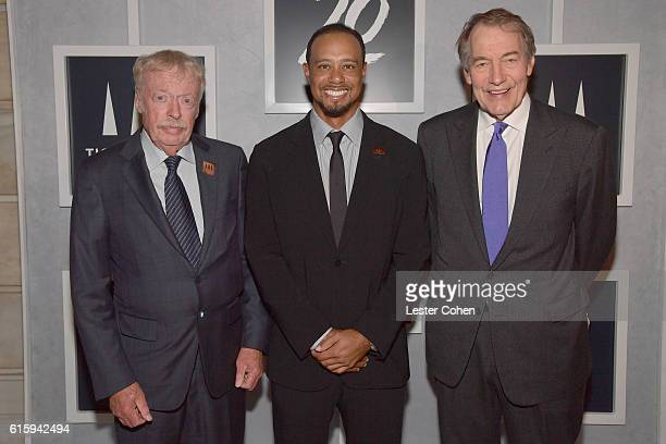 Phil Knight Tiger Woods and Charlie Rose attend Tiger Woods Foundation's 20th Anniversary Celebration at the New York Public Library on October 20...