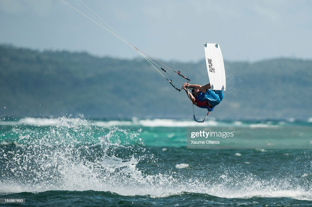 Phil Larcher of France competes on freestyle during day five of the KTA at Boracay Island on March 30, 2013 in Makati, Philippines.