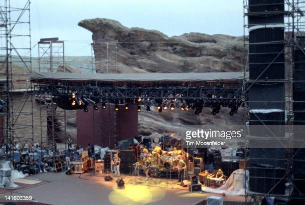 Phil Lesh Bill Kreutzmann Bob Weir Mickey Hart Jerry Garcia and Brent Mydland of the Grateful Dead perform at Red Rocks Amphitheatre on August 28...