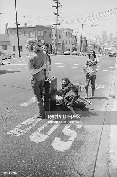 Phil Lesh Bill Kreutzmann Jerry Garcia Bob Weir Mickey Hart of the rock and roll band The Grateful Dead pose for a portrait in the middle of the...