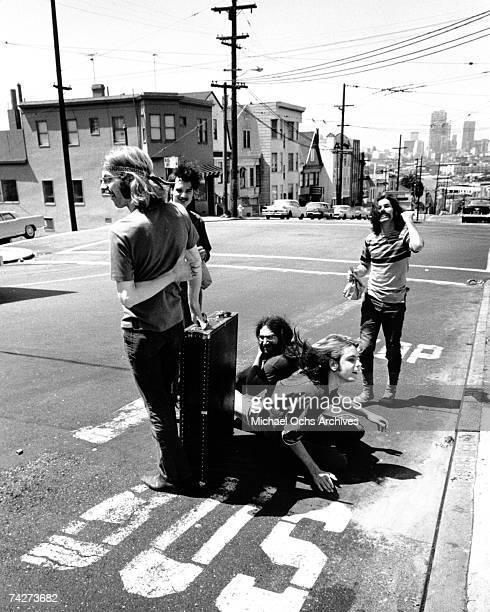 Phil Lesh Bill Kreutzmann Jerry Garcia Bob Weir Mickey Hart of the rock and roll band 'The Grateful Dead' pose for a portrait in the middle of the...