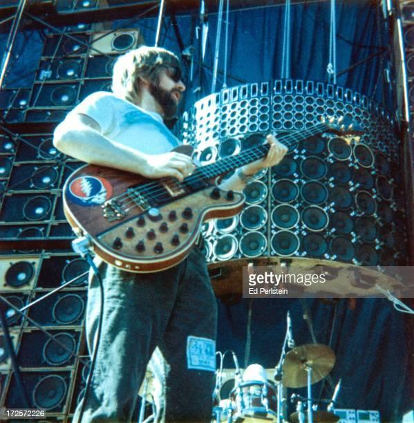 Phil Lesh of The Grateful Dead performs at Santa Brabara Stadium in May 1974 in Santa Barbara California
