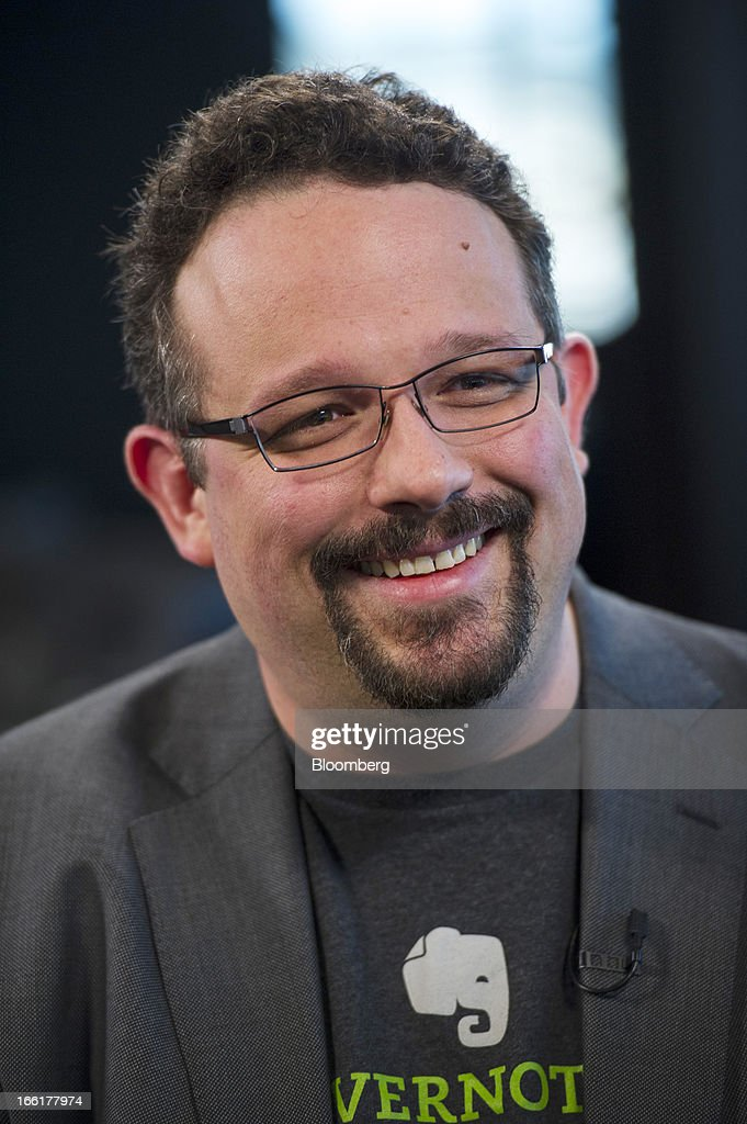 Phil Libin, chief executive officer of Evernote Corp., smiles during a Bloomberg West Television interview in San Francisco, California, U.S., on Tuesday, April. 9, 2013. Evernote Corp. develops application software that allows users to capture information in any environment using any device or platform. Photographer: David Paul Morris/Bloomberg via Getty Images