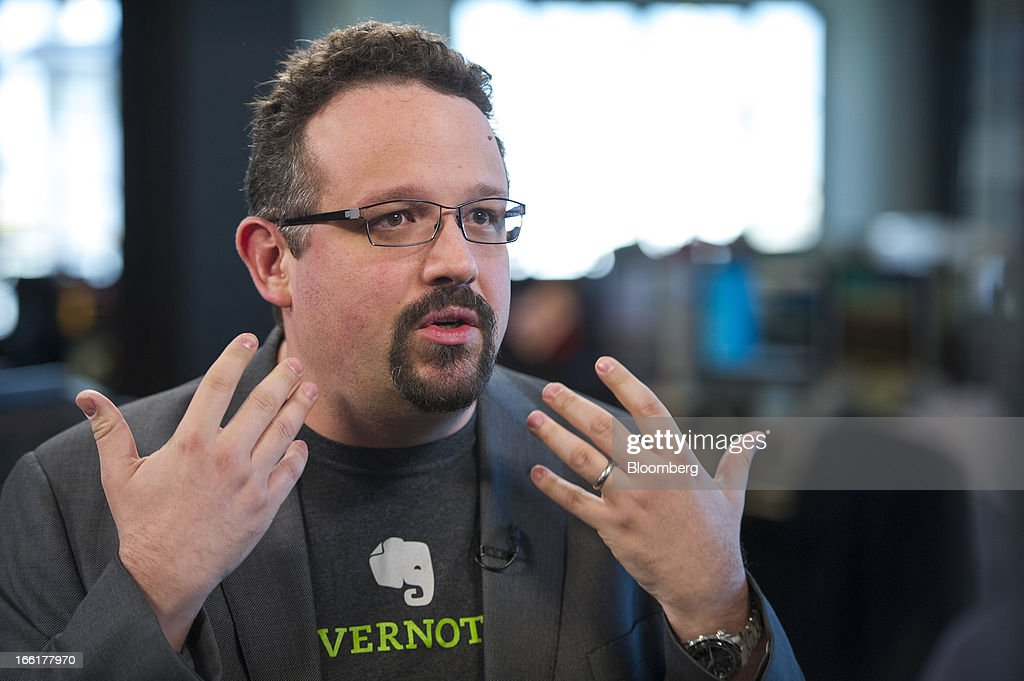 Phil Libin, chief executive officer of Evernote Corp., speaks during a Bloomberg West Television interview in San Francisco, California, U.S., on Tuesday, April. 9, 2013. Evernote Corp. develops application software that allows users to capture information in any environment using any device or platform. Photographer: David Paul Morris/Bloomberg via Getty Images