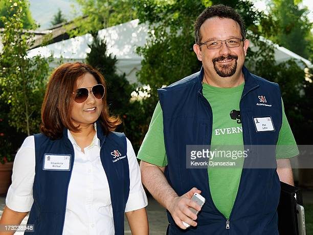 Phil Libin founder of Evernote and his wife Sharmila Birbal during lunch break at the Allen Co annual conference on July 10 2013 in Sun Valley Idaho...