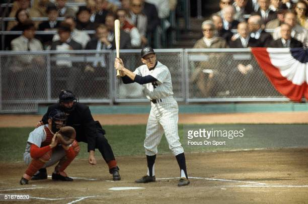 Phil Linz of the New York Yankees prepares to swing during the1964 world series against the St Louis Cardinals at Yankee Stadium in the Brox New York