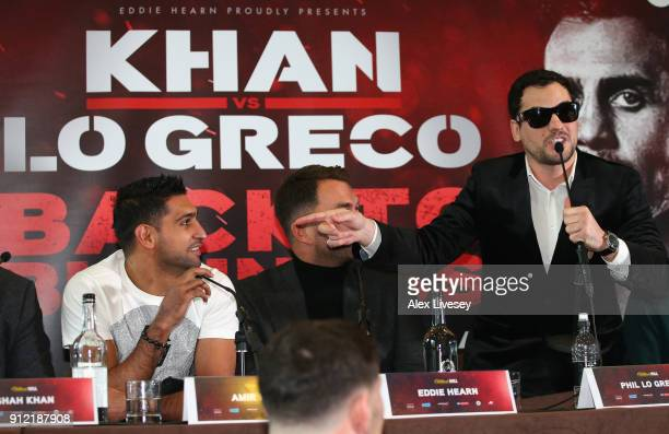 Phil Lo Greco gestures towards Amir Khan during an Amir Khan and Phil Lo Greco press conference at the Hilton Hotel on January 30 2018 in Liverpool...